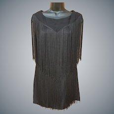 1960s Fringed Mini Dress Young Edwardian Size S-M