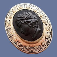 1940s Sterling Coro Black Cameo Brooch Victorian Revival