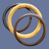 3 Bakelite Bangle Bracelets Mustard and Brown