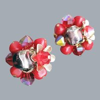 Superb Vendome Earrings Red Art Glass and Crystals