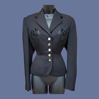Black Beaded Jacket Dutch Couturier Size Small