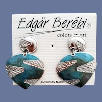 Edgar Berebi Pierced Earrings Unworn Blue Silver