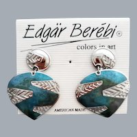 Edgar Berebi Pierced Earrings Unworn Blue Silver