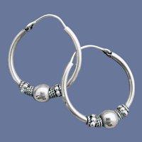 Bali Style Hoop Pierced Earrings Silver Tone
