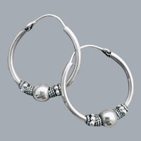 Bali Style Hoop Pierced Earrings Silver Tone