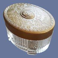 Glass Vanity Powder Cosmetic Jar Embossed Lid