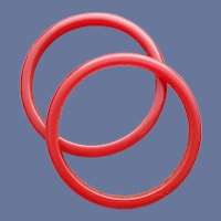 2 Red Bakelite Bangle Bracelet Spacers