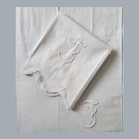 Embroidered White on White Pillowcases Tubing