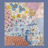 Crib Quilt Tumbling Block Pattern 1930s - 1940s Fabrics