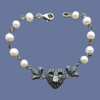 Sterling Heart Bracelet Pearls and Marcasites