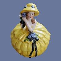 1920s Porcelain Lady Vanity Powder or Trinket Jar