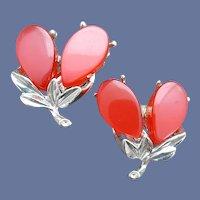 Moonglow Lucite Clip Earrings Mid Century Sleek