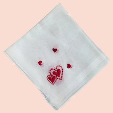 Embroidered Hearts Handkerchief for Valentine's Day