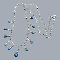 Delicate Azurite Bead and Sterling Necklace