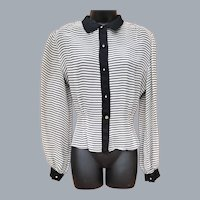 1940s Sheer Long Sleeved Striped Blouse Size Small - Medium