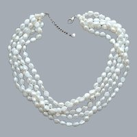 Five Strand Cultured Baroque Pearl Necklace