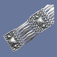 Silver Tone Link Bracelet Embossed Exotic MCM