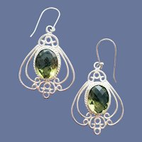 Exotic Sterling Silver Earrings Art Nouveau Style