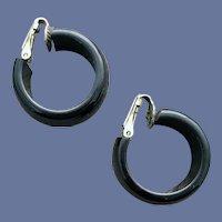 Vintage Black Bakelite Clip on Hoop Earrings Tested