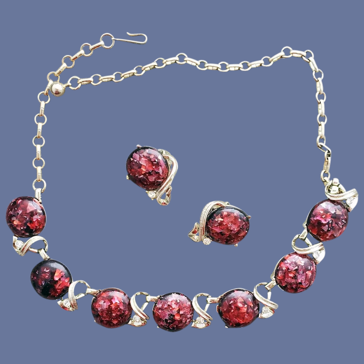 Sparkling Red Crystal Rhinestone Necklace from Mid-century Adjustable Length