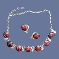 1960s Coro Demi Parure Captured Glitter Necklace Earrings
