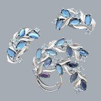 Brooch and Earrings Blue Rhinestones in Silver Tone