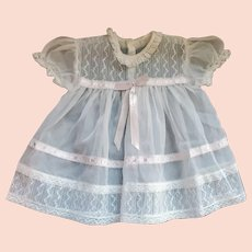 Early 1950s Fancy Baby or Doll Dress Sheer Size 1-2 Infant