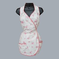1930s Cotton Full Front Body Wrap Apron Halter Style S-Md