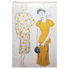 1940s Cocktail Dress Sewing Pattern Bust 32 Uncut