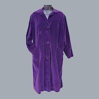 1960s Purple Velvet Coat Satin Lining Sm - Md