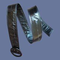 Black Eel Skin Belt S, Md, Lg Vintage 1980s