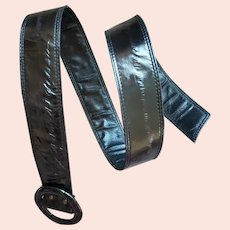Black Eel Skin Belt S, Md, Lg Vintage 1980s
