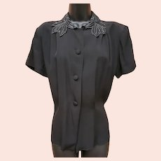 1940s Rayon Blouse Black with Silver Md - Lg