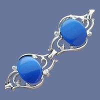 1960s Blue Lucite Link Disc Bracelet