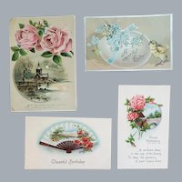 3 Antique Post Cards Easter Greetings 1 Pink Rose Picture