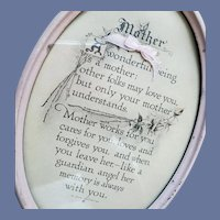 Antique Mother Motto Print Oval Metal Frame 1913