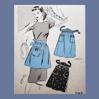 Vintage Half Apron Sewing Pattern Half Apron Size Small 1940s