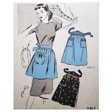 Vintage Half Apron Sewing Pattern Half Apron Size Small 1940s