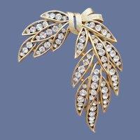 Crown Trifari Rhinestone Brooch Draped Leaf MCM