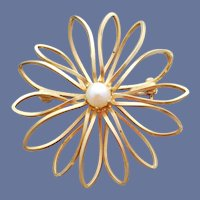 Real Pearl and GP Atomic Star Burst Brooch