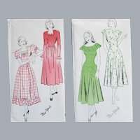 Two 1940s Sewing Patterns Dresses Extra Small