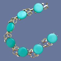 Turquoise Lucite Moonglow Necklace 1960s