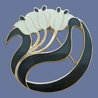 Water Lily Brooch Art Nouveau Enameled Mint