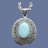 Blue Agate Fancy Setting Necklace Heavy Sterling Chain