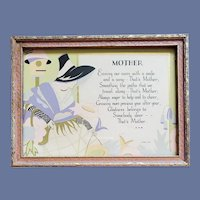 Art Deco 1929 Mother Motto Print Lady Poem