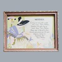 Art Deco 1929 Mother Motto Print Lady Poem