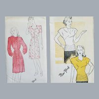 2 Vintage Sewing Patterns 1940s Blouse Dresses XS