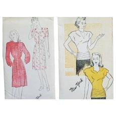 2 Vintage Sewing Patterns 1940s Blouse Dresses XS