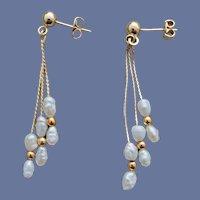 1970s Triple Dangle Pearl Earrings Pierced