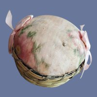 Antique Silk And Sweet Grass Basket Pin Cushion 1900